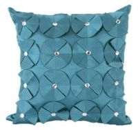 3D SHINY DIAMANTE CIRCLED RUFFLE DESIGNER FILLED CUSHION TEAL BLUE COLOUR LARGE SIZE